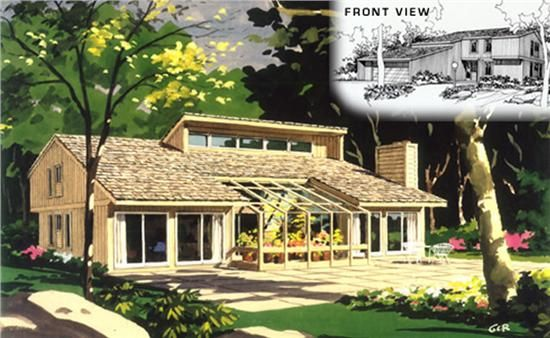 Passive Solar Home: I really like the greenhouse right there in the middle.