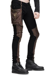 Steampunk Hose mit abnehmbarer Tasche und Kunstleder