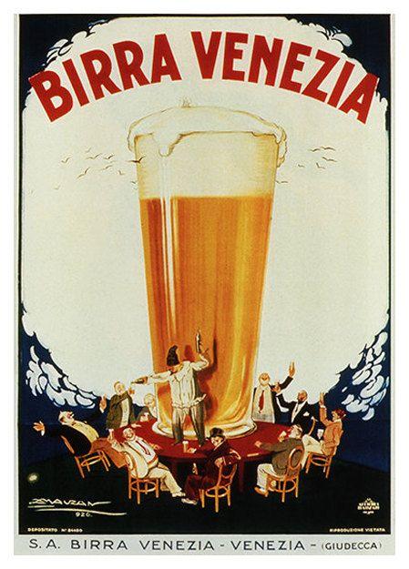 Birra Venezia Vintage alimenti bevande & Poster di WallArty