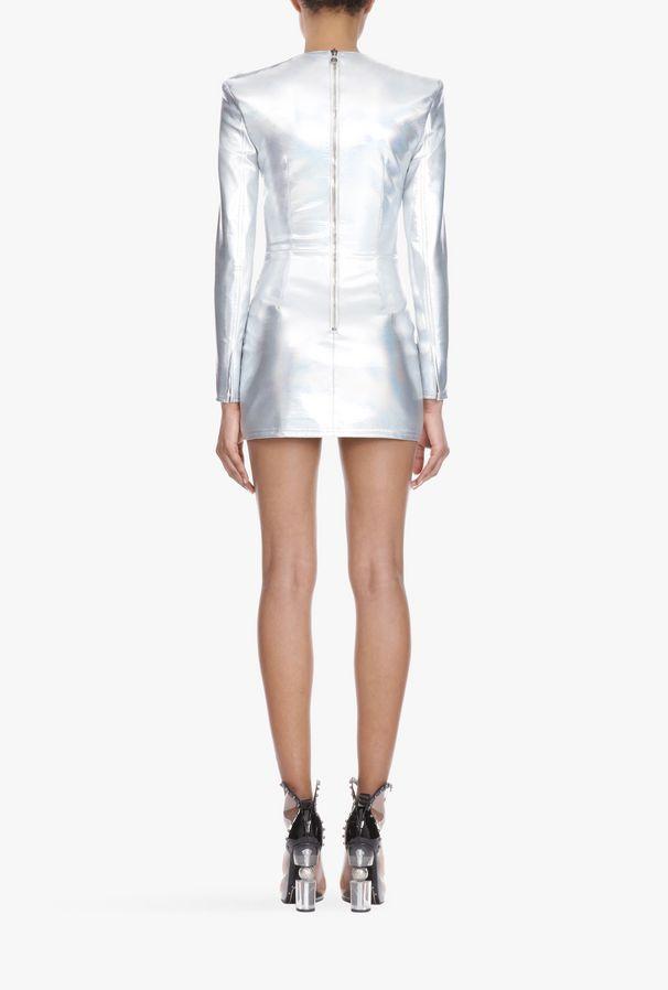 Minivestido Vestido R Balmain Plateado Con Mujer Holográfico Diseño WE29YHID