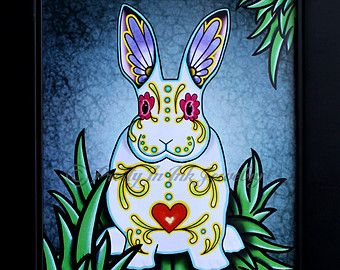 Day of the Dead Bunny Rabbit in White Sugar Skull Art Print - 8 x 10 - Prints for Pits Rescue Donation