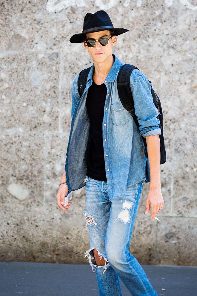 Street looks à la Fashion Week homme Milan, mannequin, denim, jean troué, chapeau, lunettes de soleil