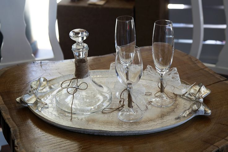 Σετ καράφα 3 ποτήρια & δίσκος χειροποίητα διακοσμημένα Atelier Zolotas