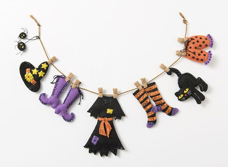 2016 NEW Bucilla Halloween felt garland kit. Fun and festive way to decorate for Halloween.