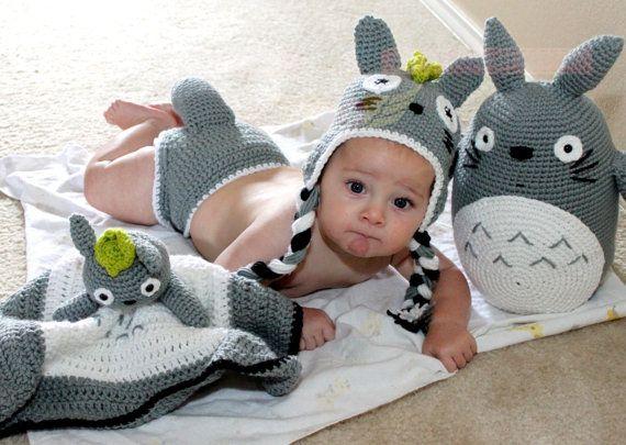 Crochet Totoro Baby Lovie Snuggle Blanket
