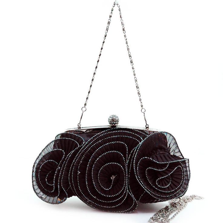 Pleated rosette evening bag with rhinestone accents
