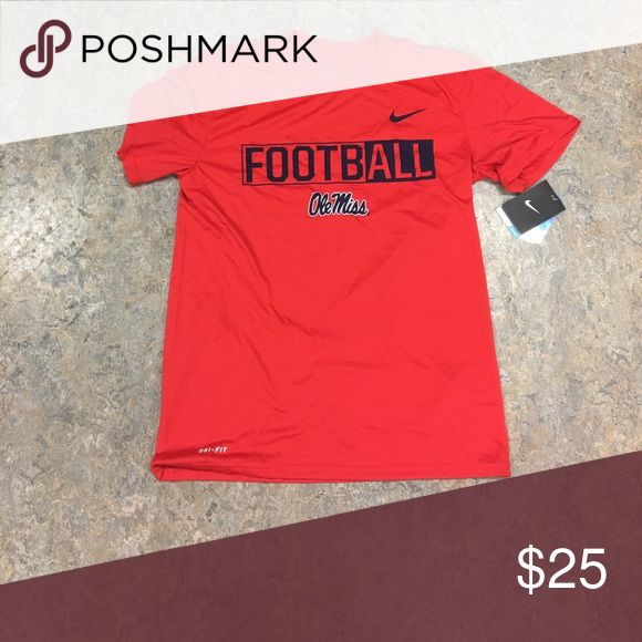 Ole Miss Rebels Football Nike Dri Fit Shirt Medium Brand new with tags officially licensed Ole Miss Rebels Nike men's Dri Fit shirt size medium. Nike Shirts Tees - Short Sleeve