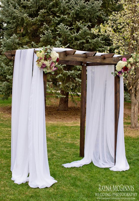 romantic wedding ceremony, wedding arch fabric, colorado wedding florist