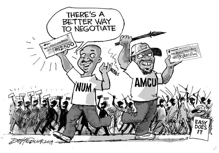 The latest Business Report weekly cartoon contrasts the deal that the National Union Mineworkers (NUM) struck with Royal Bafokeng Platinum with the deal that the  Association of Mineworkers and Construction Union (Amcu) entered into with Anglo American Platinum, Impala Platinum and Lonmin.  To read more about this click here: http://www.iol.co.za/business