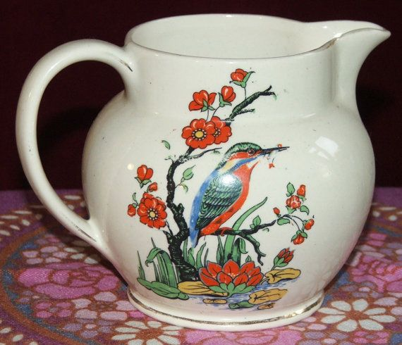 Charming vintage milk jug or vase with kingfisher and waterlilies brightly coloured transfer decoration