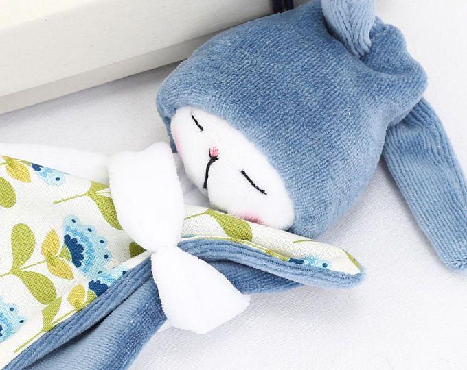 Sleepy Bunny: Blue / Bunny Plush / Stuffed Toy Rabbit / Baby Toy / Rabbit Plushie / Sleeping Buddy Bunny