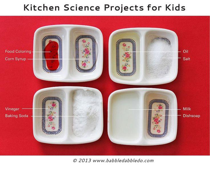 Mutfağınızda gelen ortak malzemeler kullanılarak çocuklar için 12 bilim projeleri.