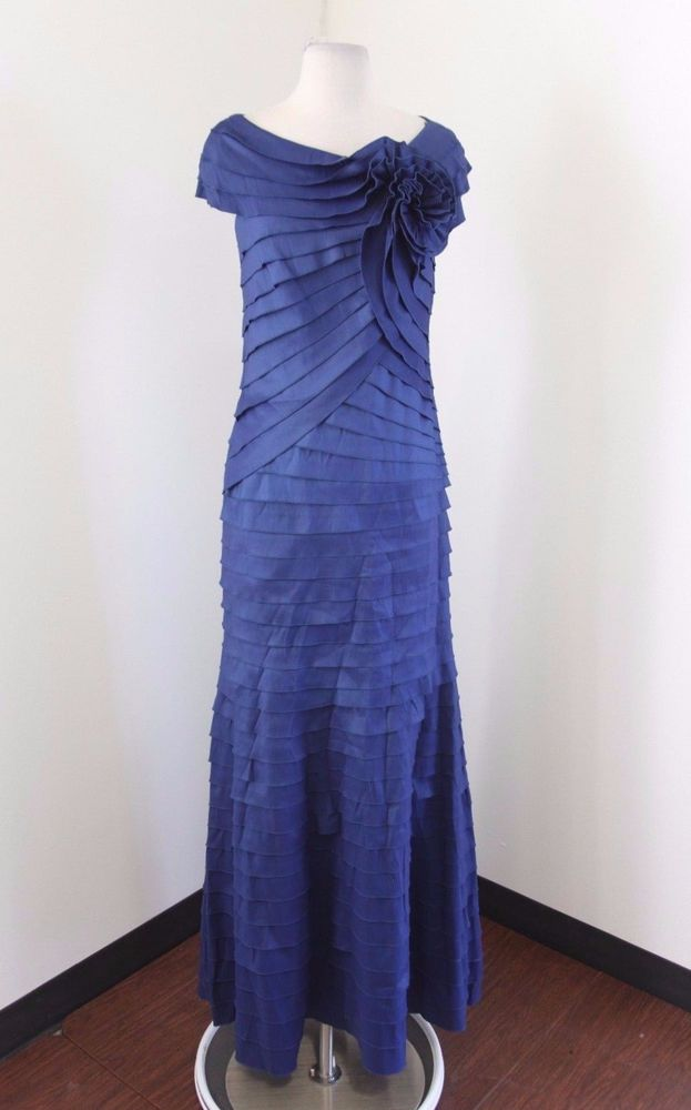 3093f394 Tadashi Shoji Blue Layered Shutter Pleat Formal Dress Evening Gown Size 6  Floral