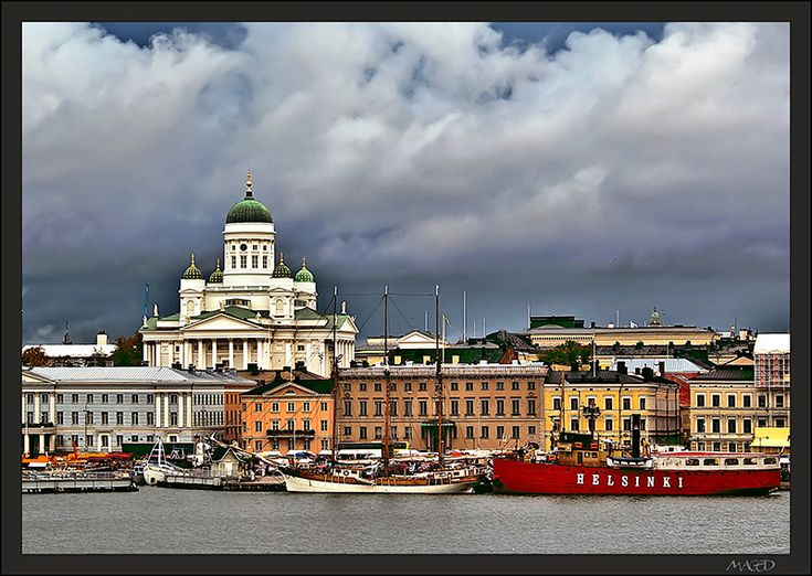The beautiful fasade of Helsinki from the sea.