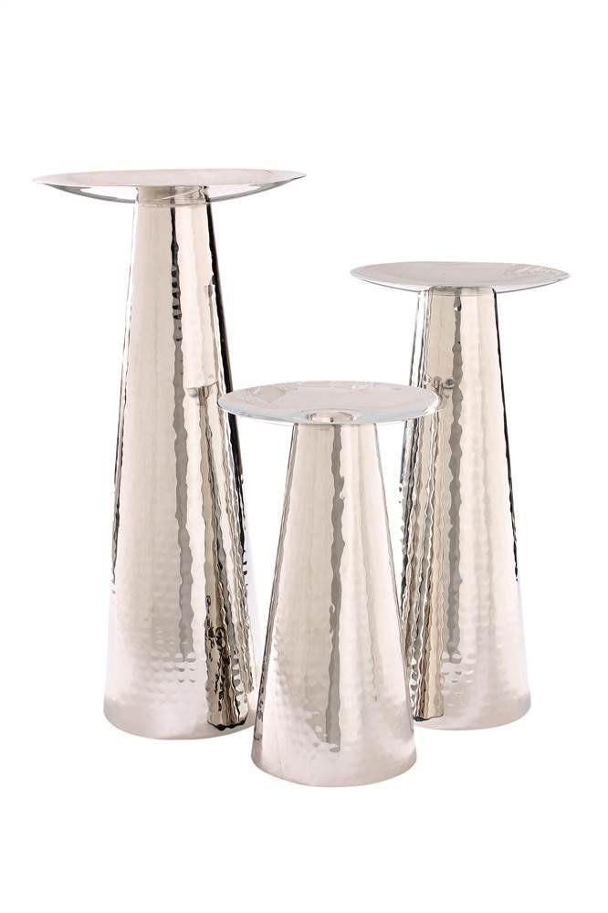 Amazon.com: Hammered Nickel Pillar Candle Holders - Set Of 3: Home & Kitchen