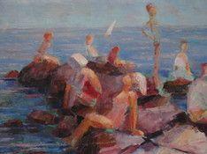 kleurrijk-olieverfschilderij--zwemplezieraan-de-kust--onduidelijk-gesigneerd-