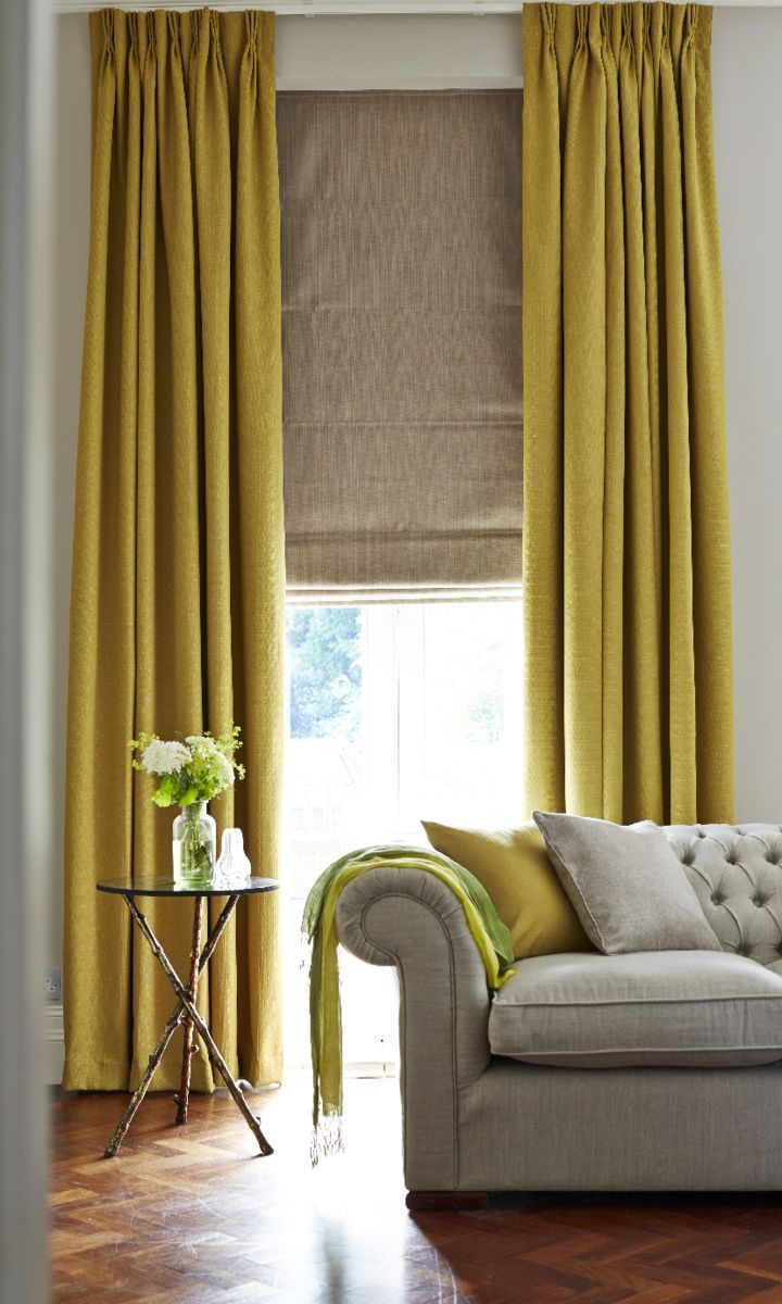 hillarys and house beautiful collection bardot olive curtain and artisan dove grey roman blind