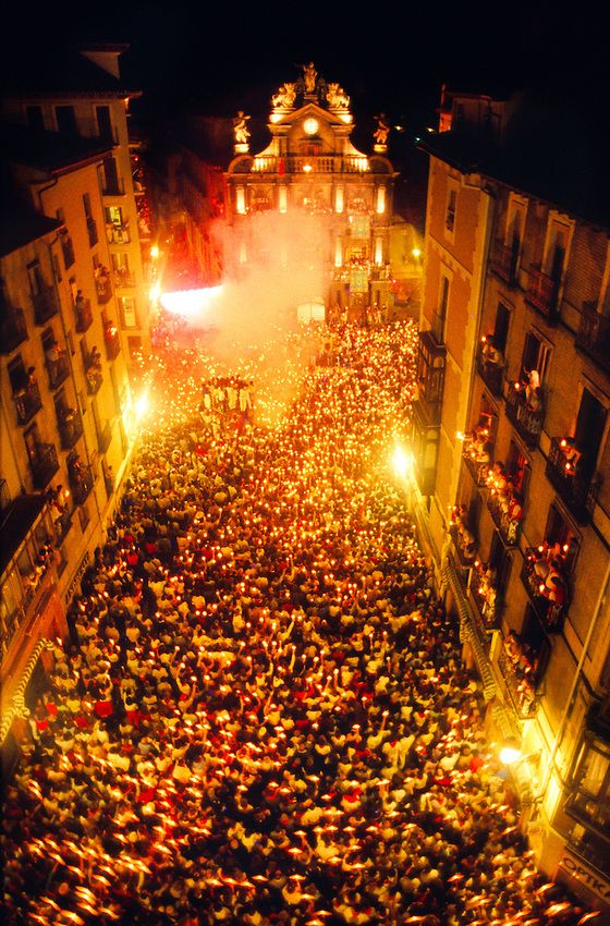 Closing ceremony, Fiesta of San Fermin, Pamplona, Spain