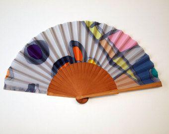 Mano del ventilatore di mano Handpainted seta-spagnolo
