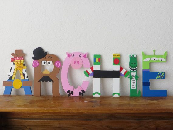 Hand painted wooden letters that POP! Each letter can be designed to fit your childs favorite Disney character. All letters and accessories are made
