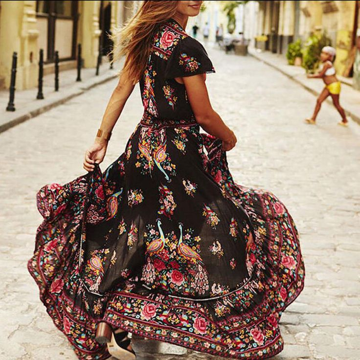 Women Popular Flower Print Boho Evening Party Long Dress Beach V-Neck Sundress