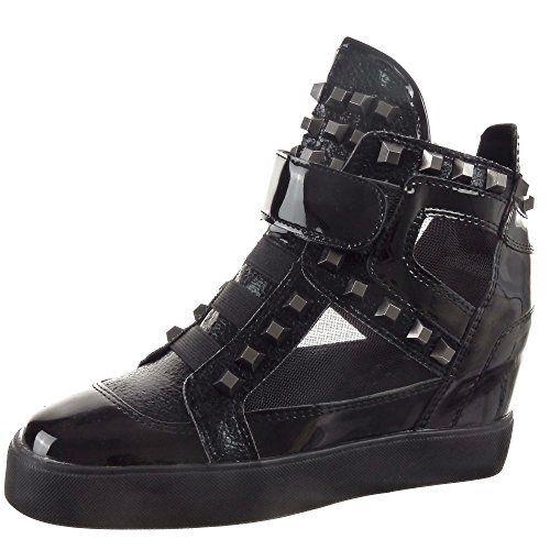 Sopily – Chaussure Mode Baskets compensée Montante femmes Brillant clouté Talon compensé 6.5 CM – Noir: Tweet Sopily vous présente :…