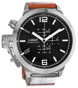 @BRAD LEPCZYK U-Boat Black Dial Light Brown Leather Mens Watch 378