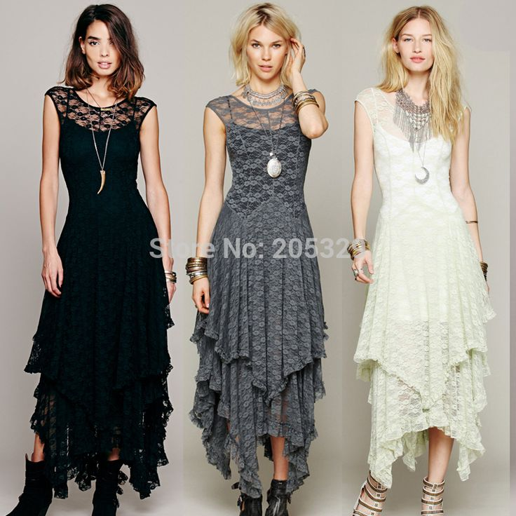 2015 New Fashion Women's Sleeveless Floral Lace Tiered Ankle Length Banquet Party Evening Long Dress Asymmetric Hem(China (Mainland))