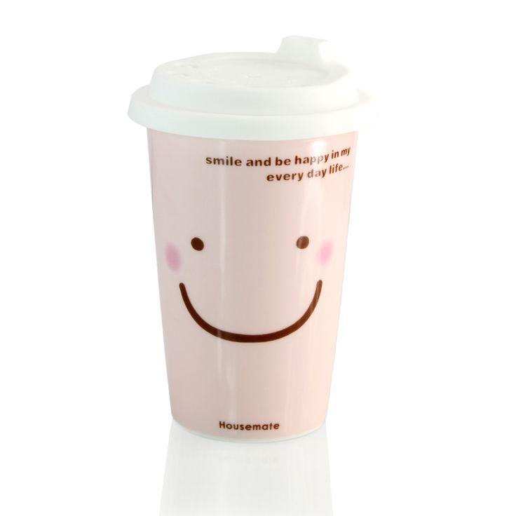 Fun cartoon smiley face ceramic milk mug Cute expression Beverage cup