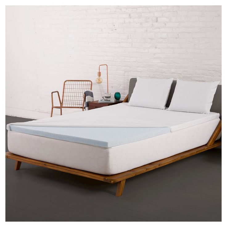 2 Gel Memory Foam Mattress Topper with Cover (Twin Extra Long) Blue- Authentic Comfort, Variation Parent
