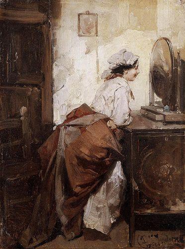 Domenico Induno (1827-1890) - Popolana allo specchio  DOMENICO INDUNO (Milano, 14 maggio 1815 – Milano, 5 novembre 1878)  #TuscanyAgriturismoGiratola
