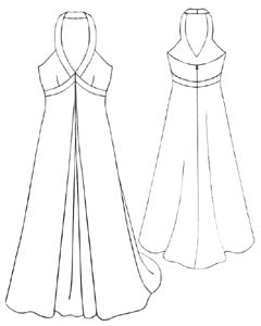example - #5190 Long dress with a contrast finishing work