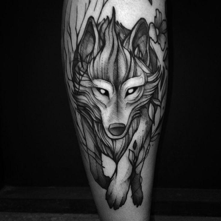 Fox wolf blackwork tattoo