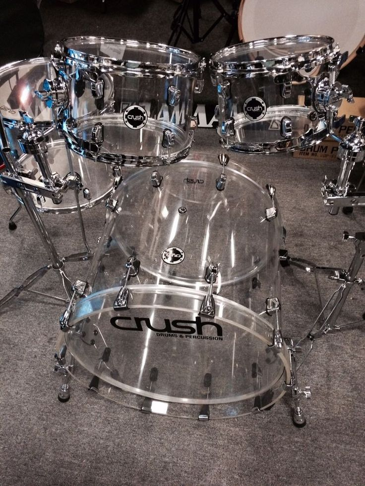 CRUSH ACRYLIC 4 PIECE DRUM SET WITH HOLDERS AND CYMBAL STANDS #CRUSH