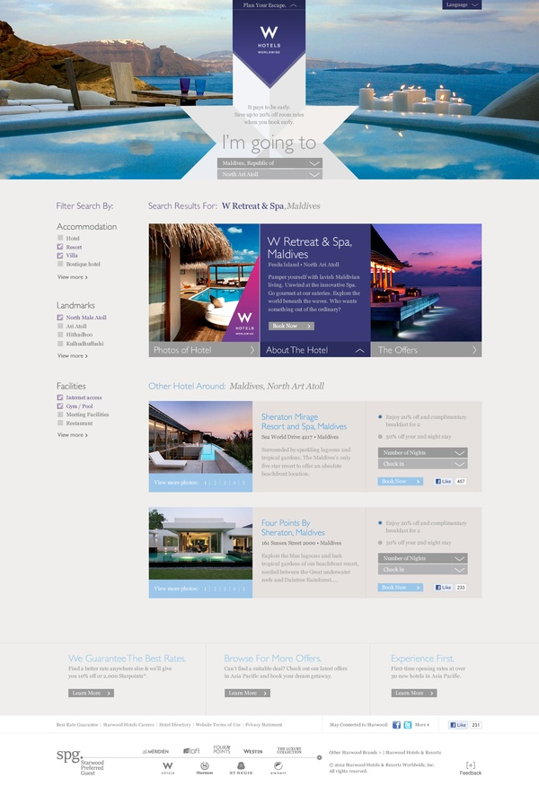 Starwood Hotel by hello kev, via Behance #design #site #layout