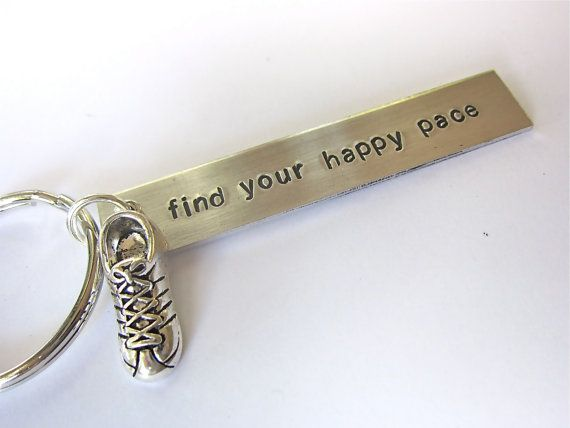 running keychain, hand stamped aluminum keychain, cross country keychain, gift for runner