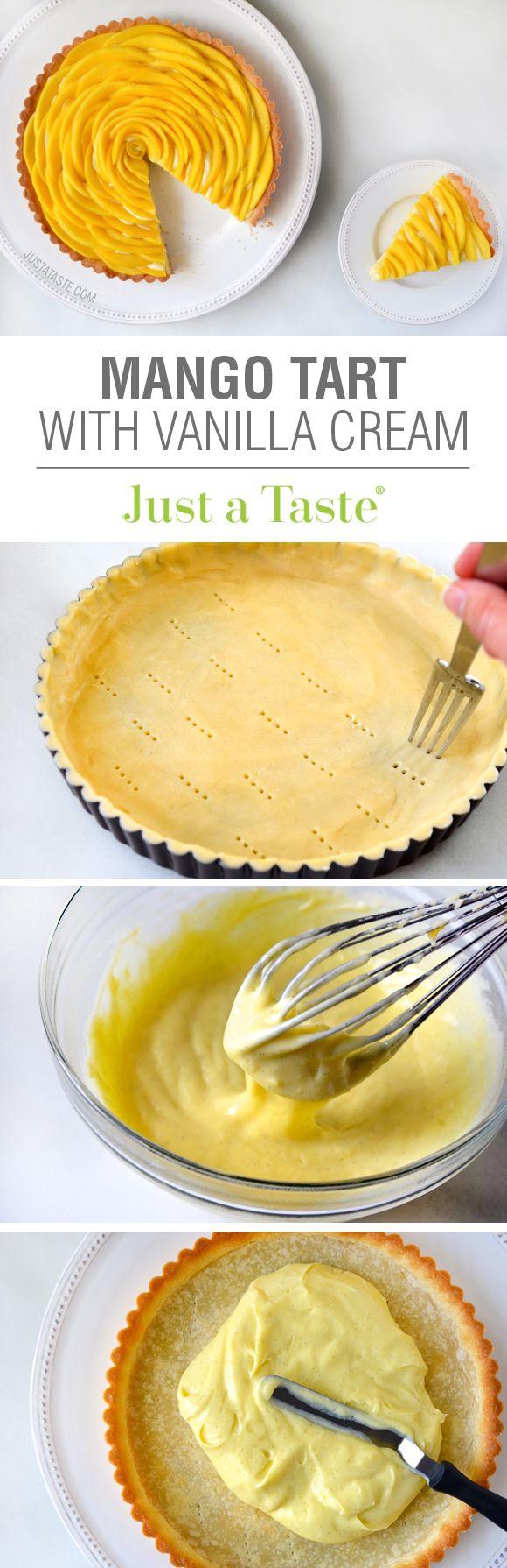 Mango Tarta con crema de vainilla pasteles DEBERES: 45 MINUTOSCOCINAR: 20 MINUTOSRENDIMIENTO: 1 TARTA (9 PULGADAS) PARA LA CORTEZA 1 taza deharina para todo uso1/3 de tazade azúcar impalpable1/8 cucharadita desal1/2 taza(1 barra) de mantequilla sin sal, fría y en cubos PARA EL RELLENO 3yemas de huevo grande1/4 tazade azúcar2 cucharadas deharina para todo uso2 cucharadas defécula de maíz1 1/4 tazasde leche entera1/2de una vaina de vainilla, el corte longitudinal3mangos grandes, cortadas en…