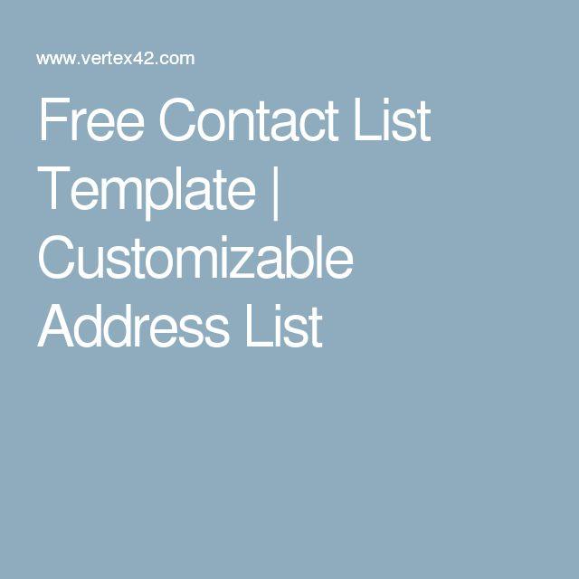 Free Contact List Template  Customizable Address List  Microsoft