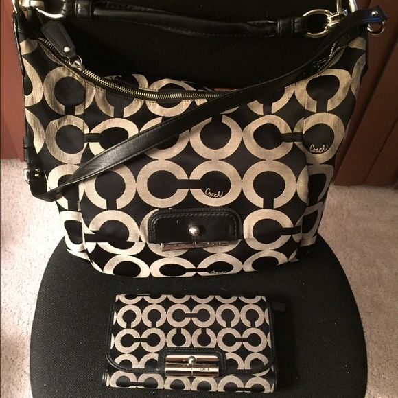 Coach hobo bag with checkbook wallet. Authentic Coach Hobo bag with matching wallet with checkbook cover. Can be sold separately ( let me know) separate- hobo bag $75, wallet/checkbook $75 Coach Bags Hobos