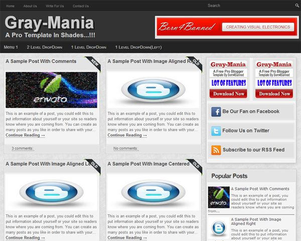 "Gray-Mania: A Free Pro-Blogger Template:  Another NEW Blogger Template By Born4Banned:  A 100% Free Premium Blogger Template Named As ""Gray-Mania-A Free Grid Style Pro-Blogger Template"" With Full Of SEO And SMO And Also With A Better User Interference On Basis Of Responsive Template With A Lot Of Plugin And Important Codes Added.  Features: www.exeideas.com/2013/06/gray-mania-free-pro-blogger-template.html"
