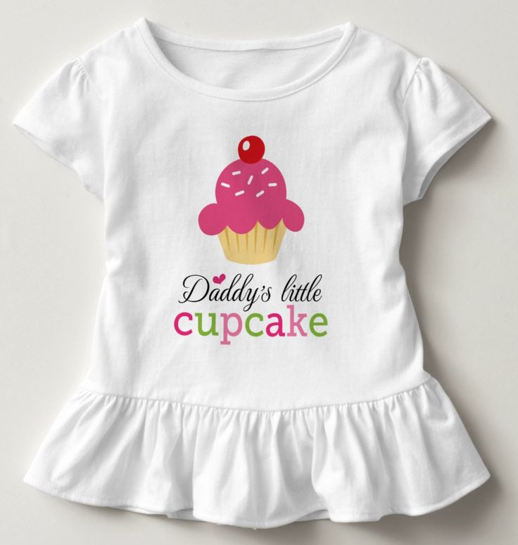 """Daddy's little cupcake cute cartoon toddler t-shirt. Cute toddler shirt featuring a cartoon cupcake with pink icing, sprinkles and red berry. Around is green, pink and black text """"Daddy's little cupcake"""" and a little heart. Fun design for little girls."""