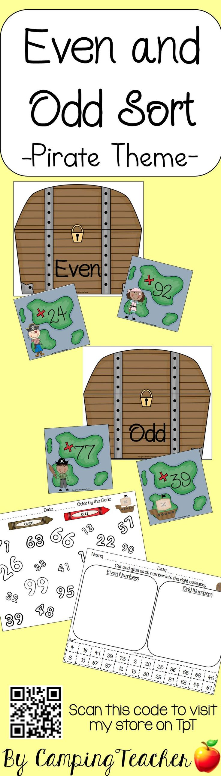 Even And Odd Sort  Pirate Theme!