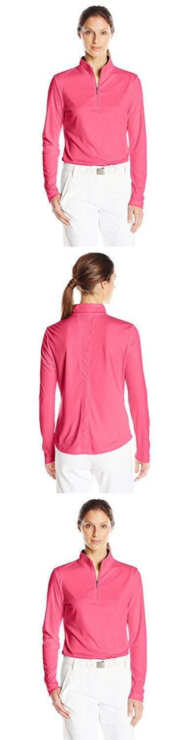 Greg Norman Collection Women's 1/4 Zip Mesh Trim Pullover, Hibiscus Pink, Small