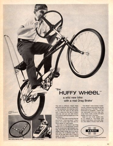 1968 Huffy Bicycle with Racing Steering Wheel and Drag by Vividiom, $9.00