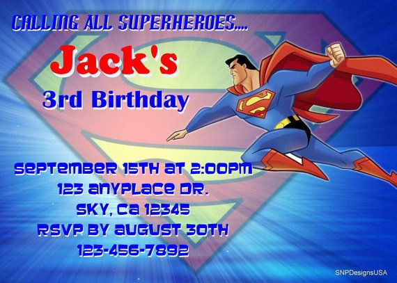 Personalized Superman Invitation DIY Digital by SNPDesignsUSA, $4.99