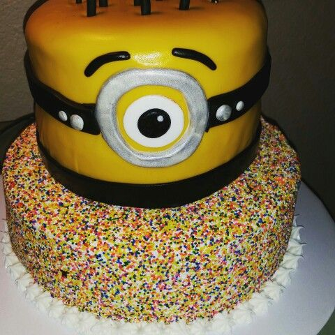 Sprinkles  and a minion inspired cake