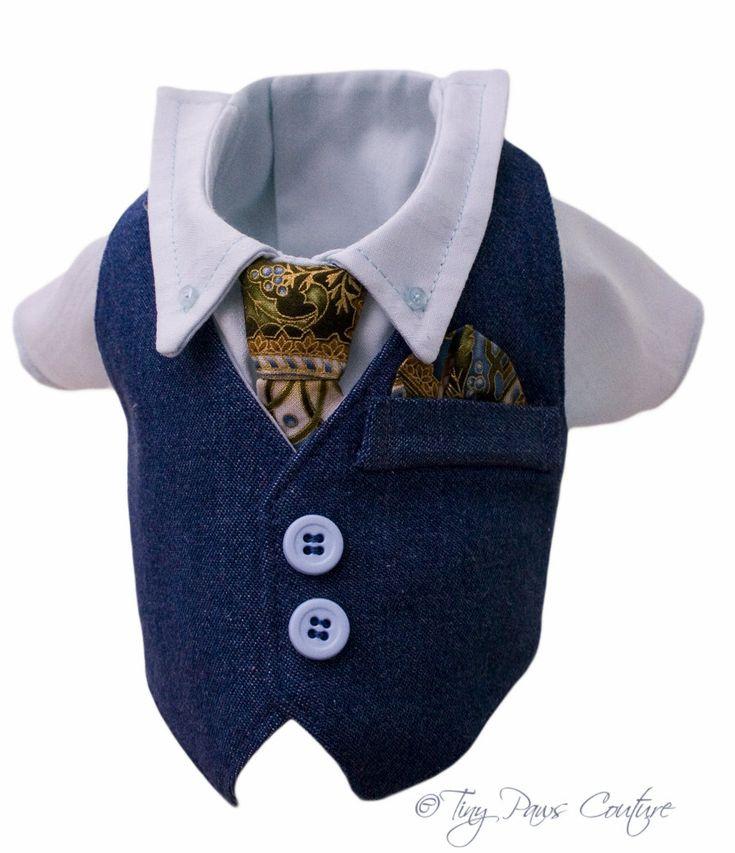 Saturday Nite Formal Style Designer Boy Dog  Denim Vest, Shirt, Tie. $79.99, via Etsy.