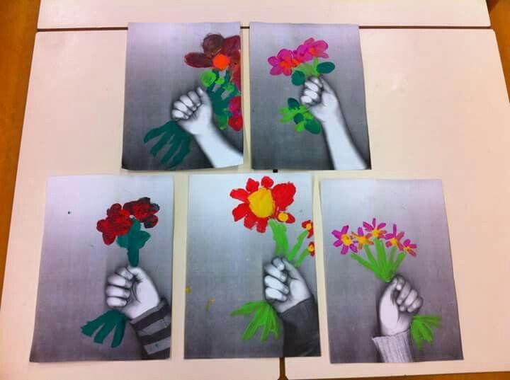 Fotokopie hand. Bloemen schilderen