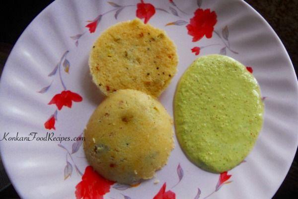 Rava Idli / Sooji Idli Recipe.   Steamed, Spiced Semolina Idlis. Dhaya Idli in Konkani. Recipe from KonkaniFoodRecipes.com