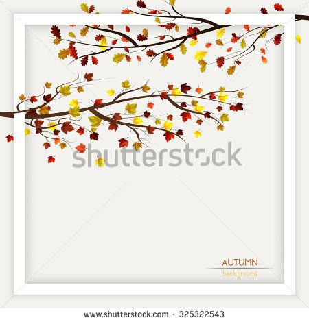 Vector fall, autumn decoration, frame with colorful leaves n trees on light background - stock vector